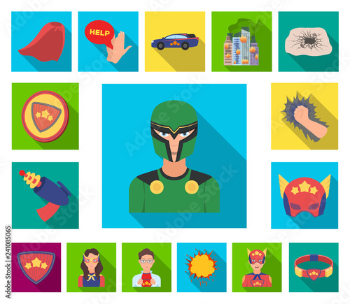 Fotografía  A fantastic superhero flat icons in set collection for design