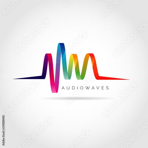 Colorful Audio Waves Logo Symbol Icon Wallpaper Mural