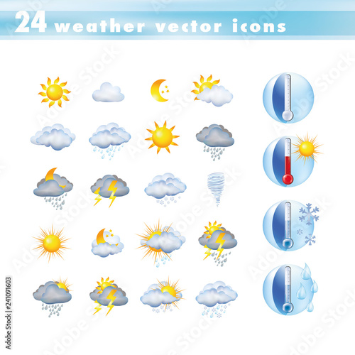 Fotografía  Set vector icons with thermometer and weather forecast