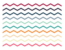 Set Of Colorful Zigzag Lines, ...