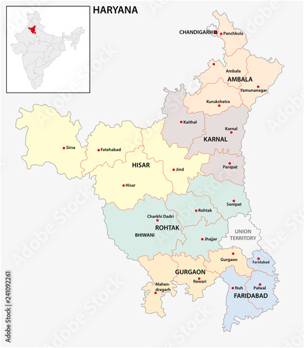 Haryana India Map.Administrative And Political Map Of Indian State Of Haryana India