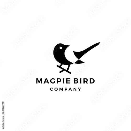 magpie bird logo vector icon illustration Canvas Print
