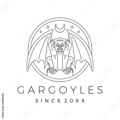 Fotografia gargoyles gargoyle logo vector outline illustration