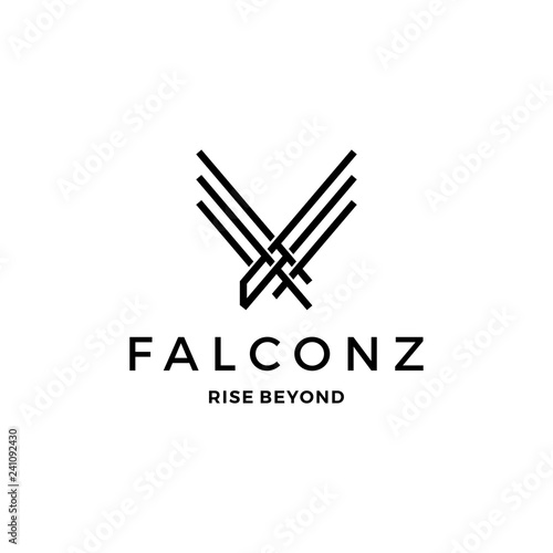 falcon eagle v letter wings logo vector icon line outline illustration Canvas Print