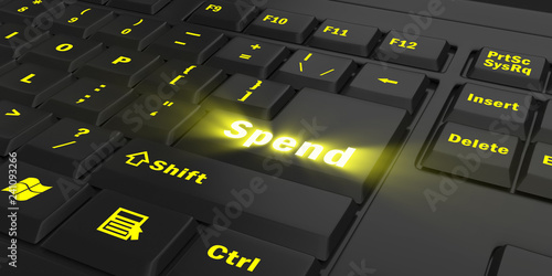 Fotografía  yellow glowing Spend key on black computer keyboard, 3d illustration