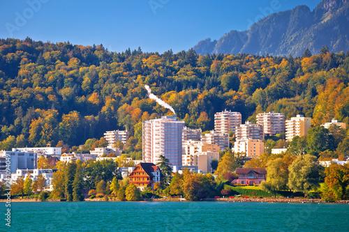 Valokuva  Lake Luzern idyllic coastline and green nature