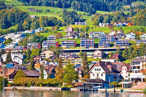 Fototapeta Modern Swiss lakeside village waterfront view