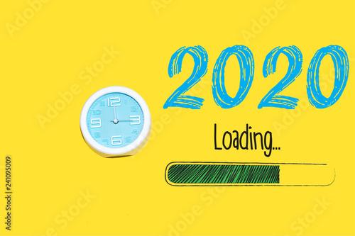 Valokuva  Loading new year 2020 with clock showing nearly 12