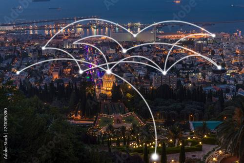 Fototapeta Cityscape with network connection obraz na płótnie