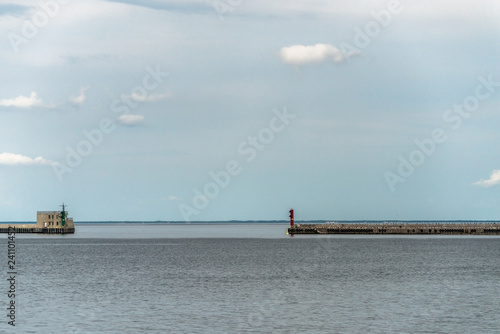 Tuinposter Poort Gdynia, Poland, August 25, 2018: One of two entrance to Gdynia Harbour.
