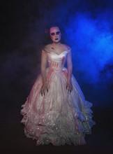 Ghost Woman In Wedding Bloody Dress. Halloween Scene