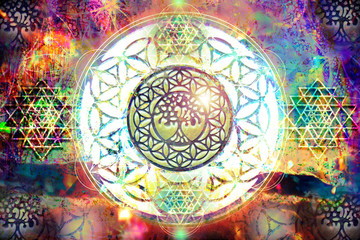 Fototapeta Na sufit Abstract spiritual background with sacred geometry