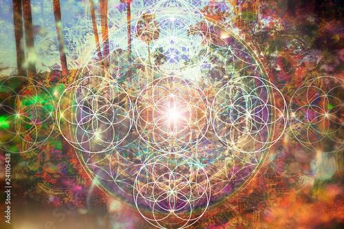 Obraz na plátně  Abstract spiritual background with sacred geometry