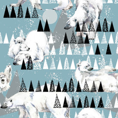 Fototapeta Do pokoju dziecka winter seamless background. white bear. Arctic pattern. Polar nature watercolor illustration. North wildlife. wild animal.