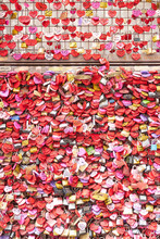 Wall Full Of Padlocks At Juliette Capulets Balcony In Verona In Italy