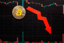 Unprofitable Investment Of Depreciation Of Virtual Money Bitcoin. Green Red Arrow, Silver Bitcoin And Dollars Go Down On Forex Black Paper.  Concept Of Depreciation Of Cryptocurrency.