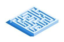 Labyrinth, Square Maze Icon. I...