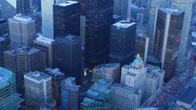 Aerial Of Toronto, Canada City Center At Twilight