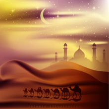 Arabian Land And Desert By Riding On Camels At Night Accompanied By Sparkles Of Stars, Mosque For Illustrative Islamic Background
