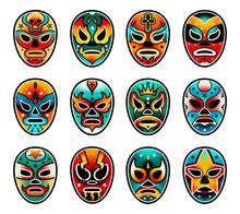 Lucha Libre Luchador Wrestling Show Masks Set