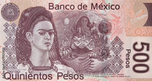 Fotografia  Mexican 500 peso (2010) bill, Frida Kahlo