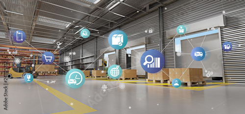 Obraz Logistic organisation on a warehouse background 3d rendering - fototapety do salonu