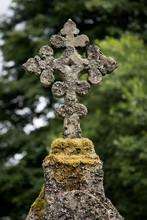 Old Celtic Cross In A Scottish Highland Church Yard