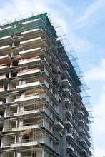 Construction Of A Multi-story Apartment Block - Upward View Vertical Image