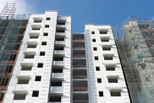 A Construction Site Of A Multi-story Apartment Block - Image With Upward View