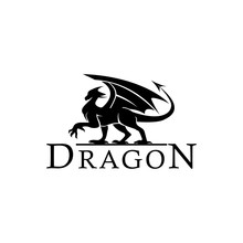 Dragon Walk Logo Design  Silhouette Illustration