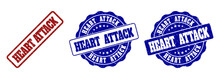 HEART ATTACK Grunge Stamp Seals In Red And Blue Colors. Vector HEART ATTACK Watermarks With Grunge Style. Graphic Elements Are Rounded Rectangles, Rosettes, Circles And Text Captions.