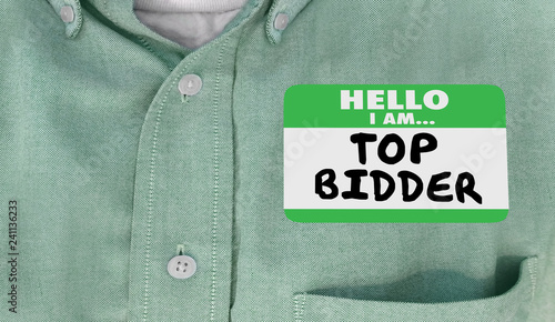 Top Bidder Auction Buyer Hello Name Tag Words 3d Illustration Wallpaper Mural