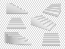 White 3d Stairs. Vector Isolat...