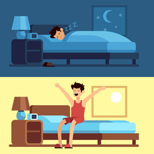 Man Sleeping Waking Up. Person Under Duvet At Night And Getting Out Of Bed Morning. Peacefully Sleep In Comfy Mattress