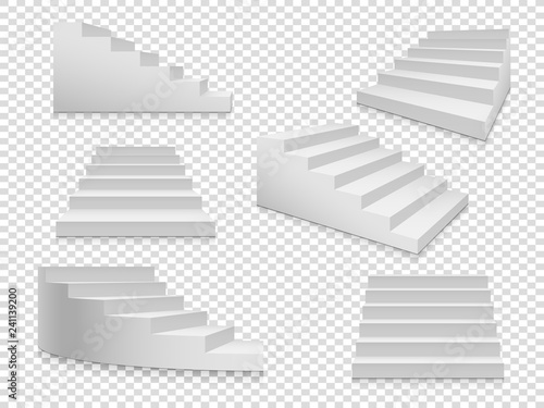 White 3d stairs Fototapeta