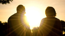 Senior Couple Watching Sunset Together, Romantic Date, Paradise With Beloved