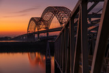 Sunset on the Mississippi River at Memphis bridge