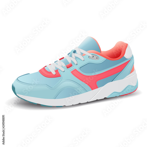 Fotografía  Realistic sport running shoe for training and fitness on white background, trend