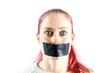 canvas print picture - frau mit zugeklebten mund I