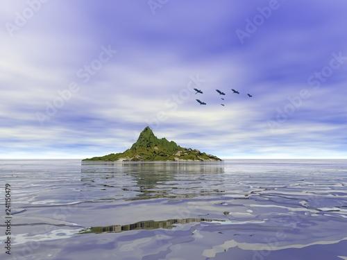 Fotografie, Obraz  vista da riva  con isolotto e uccelli