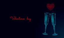 Two Glasses Of Champagne With Sparkles. Low Poly Polygonal Blue Glowing Toasting Romantic Love Date. Heart Shape Tender Dating Chin-chin Couple Valentine Day Vector Illustration
