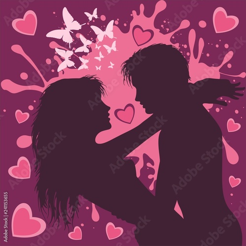 Poster Draw Valentine's Day Couple of Lovers in Purple and Pink Vector Illustration