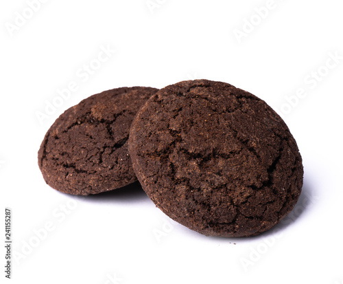 Foto Two dark chocolate cookies on white background, isolated