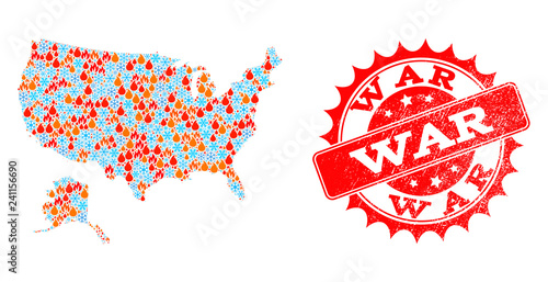 Composition of snowflake and fire map of USA and Alaska and War grunge stamp seal Canvas Print