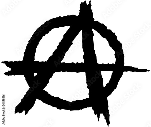 Valokuvatapetti Anarchy silhouette symbol in black on a white background