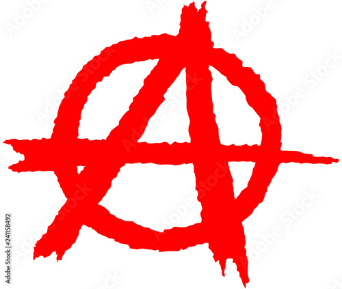 Valokuvatapetti Anarchy silhouette symbol in red on a white background