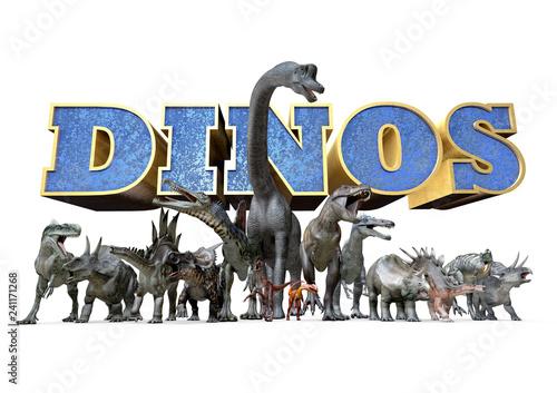 Photo Range of Dinosaurs, White Background, 3D-Rendering