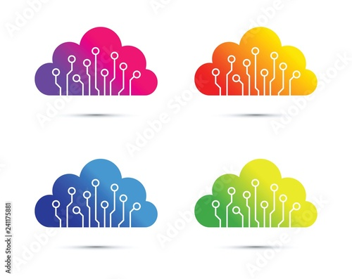 Obraz colourful abstract cloud computer chip icon set - fototapety do salonu
