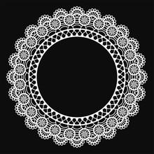 White Lace Doily Frame - Beautiful Vintage Style White Lace Doily Frame With Copy Space Isolated On Black Background