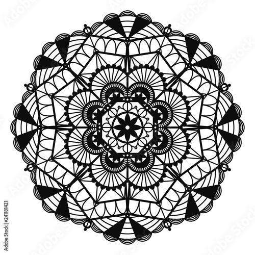 Fotografie, Obraz  Black Lace Doily - Beautiful vintage style black lace doily isolated on white ba